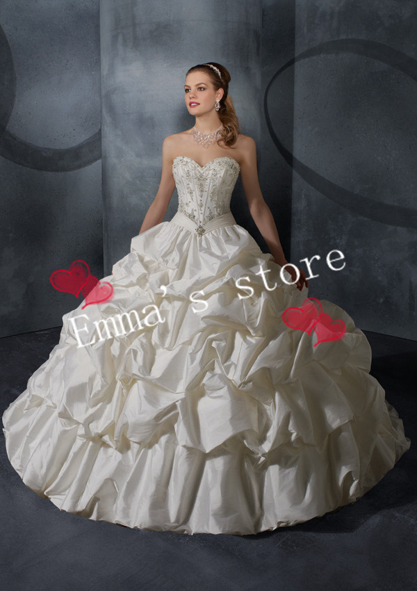 Custom Made Fashion 2013 New Luxuxry A-Line Sweetheart Floor Length Applique Train Ruffled White Formal Wedding Dresses Gowns(China (Mainland))