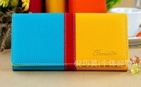 2013 New Arrivals Fashion PU Leather colorful Pattern Wallets Ladies Fashion Purse 5039 Free Shipping