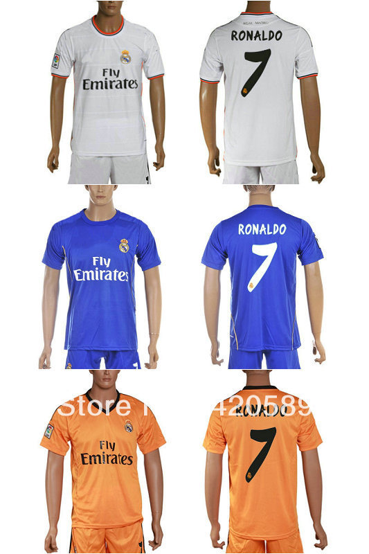 Free shipping 7# Ronaldo 13-14 Real Madrid home White soccer football jersey+short kits soccer uniforms(China (Mainland))