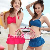 Cute Push Up Bandeau Skirtini 2 Pcs Bikini Set Swimsuit Bathing Suit