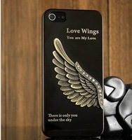 Hot Selling Metal Texure Business Style Cell Phone Case For Iphone  4 With  Eagle  Pattern Support  Dropshipping +5Flims