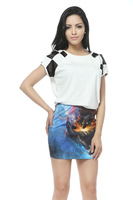 2013 Sexy Tight Women Galaxy Space Star Mini Skirt,Mini Pencil Skirt,Bee Fashion Printing Half-length Skirt DQ005 Wholesale