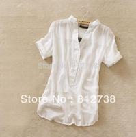 Blue Yellow Pink Black Free shipping new fashion womens summer chiffon shirt silk tops loose blouses shirts for women 2014