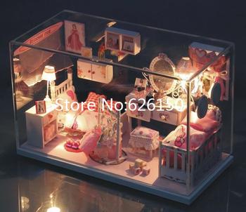 Dream Princess DIY handmade mini house dollhouse with Glass dust cover and music