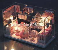Dream Princess DIY handmade mini house dollhouse with Glass dust cover and music