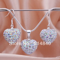Shambala Heart Crystal Pendant Necklace Earrings Set for women silver 925 wholesale high quality jewelry women's cross