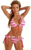 fashion Hot summer beach PINK striped Swimwear Bikini Set YH0434 lady best clothes