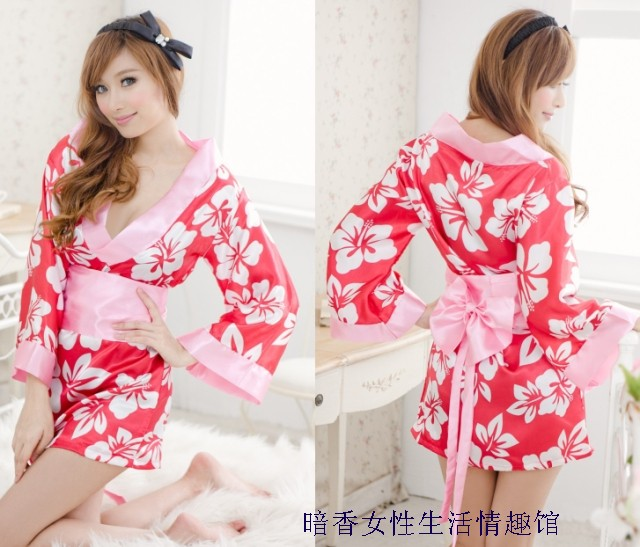 Free shipping Japanese style print kimono sexy set bathrobes temptation women's sexy underwear open front plus size novelty set(China (Mainland))
