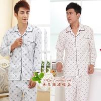 summer long sleeve length pants male sleep set knitted cotton lounge