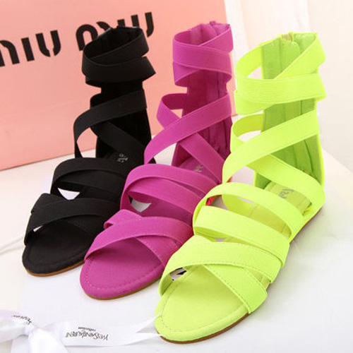 2013 new gladiator style designer neon color fashion street female flat heel sandals open toe ankle strap women shoes lady brand(China (Mainland))