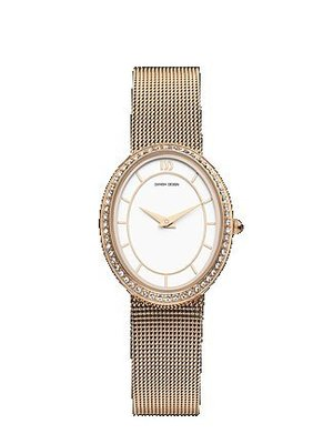 Danish Design Women&#39;s Rose Gold Mesh Band Oval Face CZ Dress Watch IV77Q995(China (Mainland))