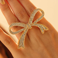 Free shipping standard size rhinestone bow rings size 17 wholesale gold &amp; silver customized