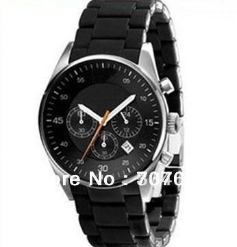 EMS Free Shipping AR5858 Black Silicon Chronograph Mens Watch c/w Original Boxset(China (Mainland))