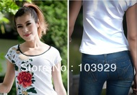 2013 summer new products. Pure cotton  appliques pure  ladies T-shirt