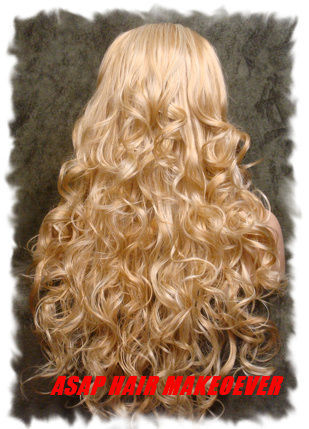Wholesale HIGH HEAT Light Blonde Mix #24B613 XXX LONG Loose Curly 3/4 Fall Hair Piece Wig Wigs(China (Mainland))