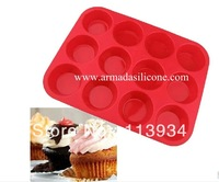 Free shiping,100pcs/lot Silicone Cake Molud, 12 holes silicone muffin mould  silicone soap mold