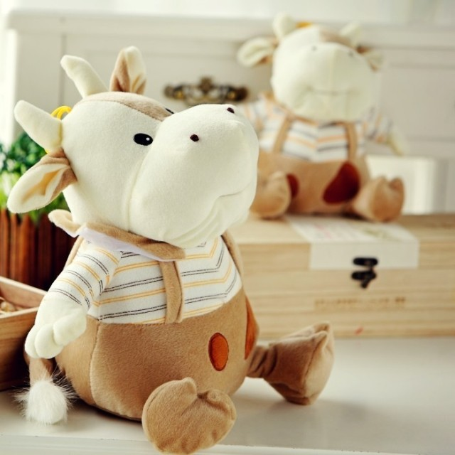 Free shipping 2013 Cute Stuffed Toys Stripe cattle plush toy cloth doll dolls birthday present for girlfriend gifts(China (Mainland))