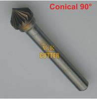 3x Dia.8*4*6mmSHK Conical 90Degree Single Cut Carbide Rotary Burrs, Carbide Rotary File for Electric Tool Pneumatic Tool