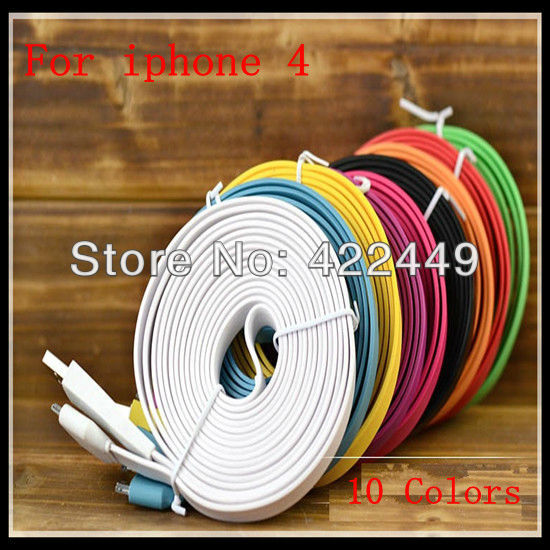 Sample testing fast delivery 3M big flat noodles Cable for Iphone 4 4s 3g Adapter 30 pin Colorful USB Data Charger Cable(China (Mainland))