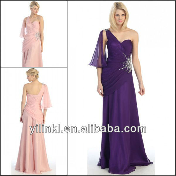 Long Chiffon Beaded Waist One Shoulder Traditonal Bridesmaid Dress(China (Mainland))