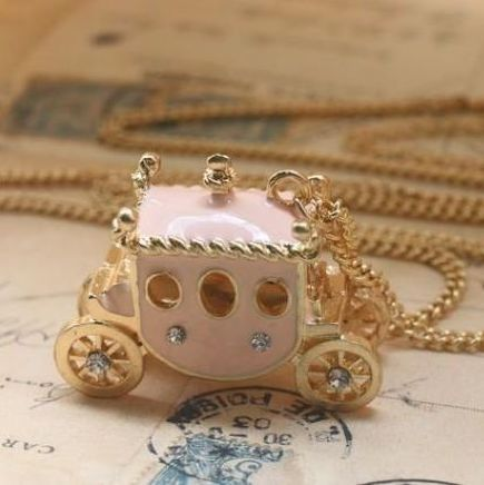 Vintage x264 dream fairy tale princess rhinestone small carriage necklace pink horse carriage necklace Min order 10 USD(China (Mainland))