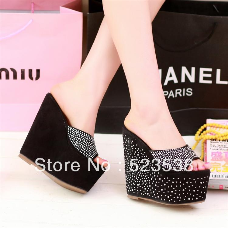 2013 ultra high heels platform open toe slippers rhinestone dot blue black pink shoes(China (Mainland))