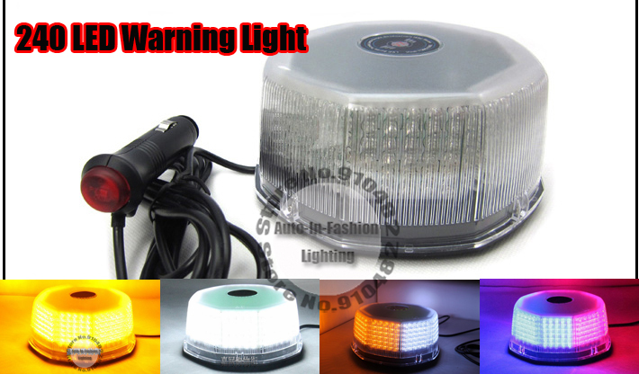 Free Shipping 240 LED Car High Power Magnetic Roof Flashing Strobe Emergency Light Police Warning light white/amber/red/bule(China (Mainland))