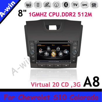 "2din gps mp3 player 8"" car monitor unit  For Chevrolet S10 Colorado unit Car audio 1GMHZ CPU DDR2 512M Virtual 20CDC"