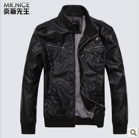 2013 Classic Men&#39;s PU Leather Jacket Coat Outwear Black And Brown Free Shipping 3521 M-2XL(China (Mainland))