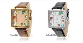 Free shipping innovative luxury brand crystal woman wristwatch rhinestone sapphire watch for girl leather strap swiss movement