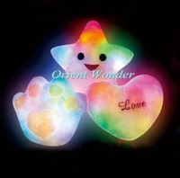Free shipping,colorful LED pillow,lucky heart star shaped glow pillow best gift for valentine