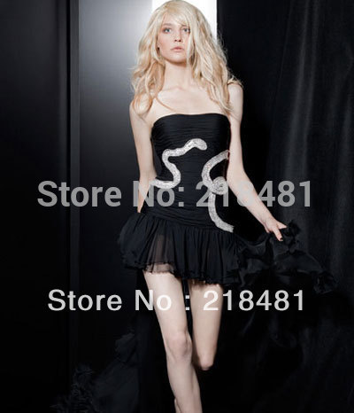 ZH-194 2013New Arrival Hotsale Luxurious Sexy Short Front And Long Back Beads Crystal Chiffon Zuhair Murad Evening dresses(China (Mainland))
