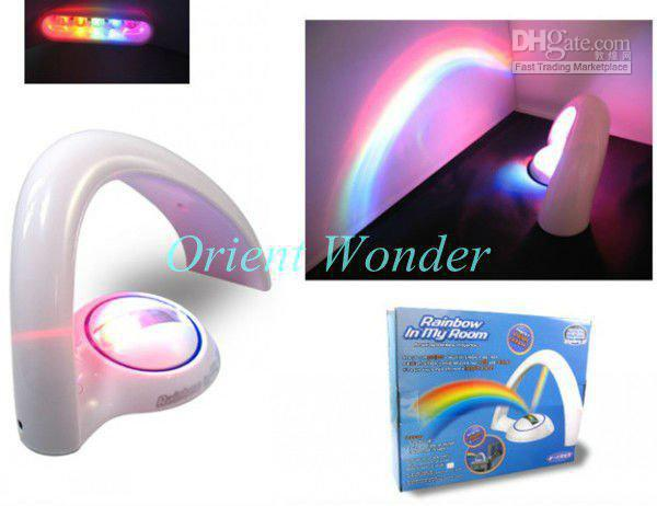 3pcs/lot Freeshipping Rainbow Night Light LED Lamp second generation,Indoor Amazing Rainbow Projecto(China (Mainland))