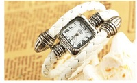 Free shipping innovative luxury famous PU long band woman outdoor bezel watch dress bracelet watch for girl leather strap