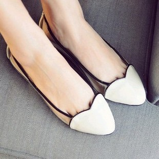 Beautiful love it toe cap patchwork transparent film flat heel single shoes 3 2013 spring and summer(China (Mainland))