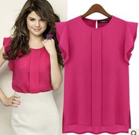 Free Shipping 2013 Hot Sale lady's fashion Tshirt  chiffon Tshirt 5pc/lot  S-XXL Blue rose red 2 color for choice