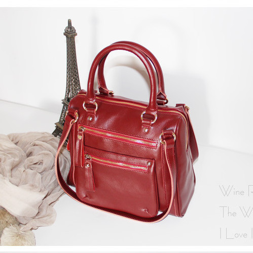 Leisure style cowskin cute women handbag/small city bag with branded design(B0387)(China (Mainland))