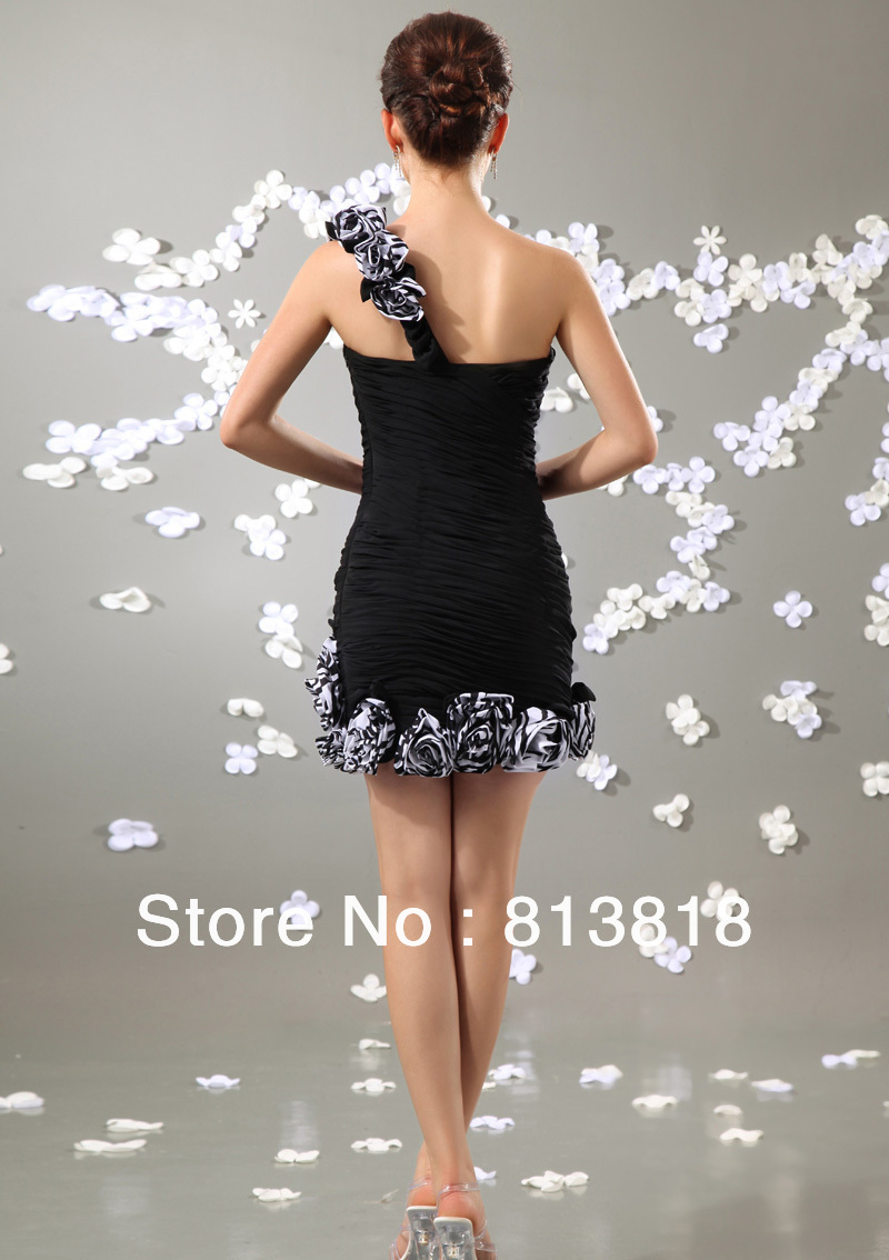 Special Price!!! Wholesale Cheap Chiffon One Shoulder Flower Ruffles Cocktail Dress 2013(China (Mainland))