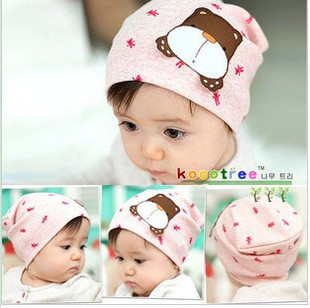 41 Cartoon dog discontinuing 100% cotton child baby hat baby hat baby pocket toe cap covering cap(China (Mainland))