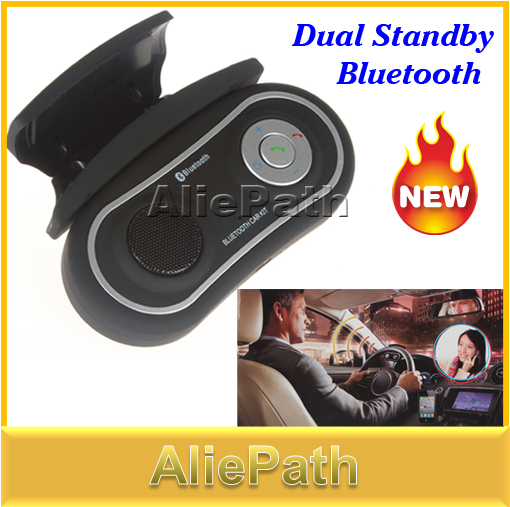 Dual Standby Bluetooth Cell Phone Handsfree Car Kit with FM Transmitter Speaker, Echo and Noise Suppression, Free Shipping(China (Mainland))