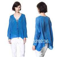 Free shipping  2013  Girls XS-XL size V-neck Batwing Sleeve Irregular Hem Casual Shirts  Ladies Womens Fashion blouse