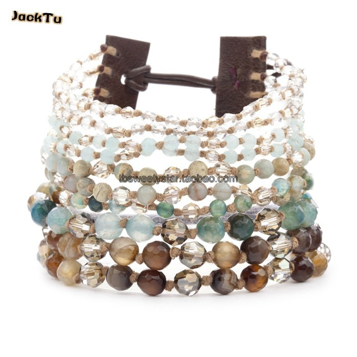 2013 beaded cuff jasper wrap bracelet summer jewelry women(China (Mainland))
