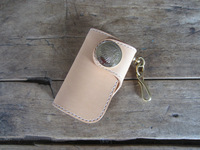 card  money clip wallet Leather handmade sewing - the replantation tannages key hasp brass cloth buckle brass hook