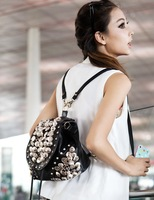 2013 women's handbag fashion button vintage punk bag two ways bag  2 colours