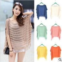 Hot 2013 spring and summer the new hollow knitted bat shirt loose T-shirt tops fringed shawl free shipping