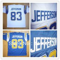 Football Jerseys John Jefferson #83 Sky Blue, White Throwback Sports Jersey Size:48~56+Mix Order,Free Shipping