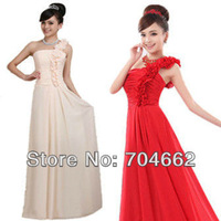 2013 new arrival handmade flower chiffon long design high quality evening dress factory direct wholesale