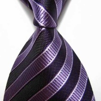 Black pure Stripe Silk Classic Woman Man Tie Necktie TIE0013
