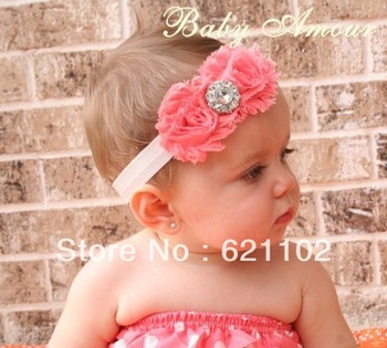Min.order is $10 (mix order) Girls Chiffon Flower Headbands Baby Hair Band Elastic Lace Children Head