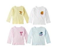 16pcs/lot free shipping children cartoon long-sleeve T-shirt children basic shirt  kid's t-shirt